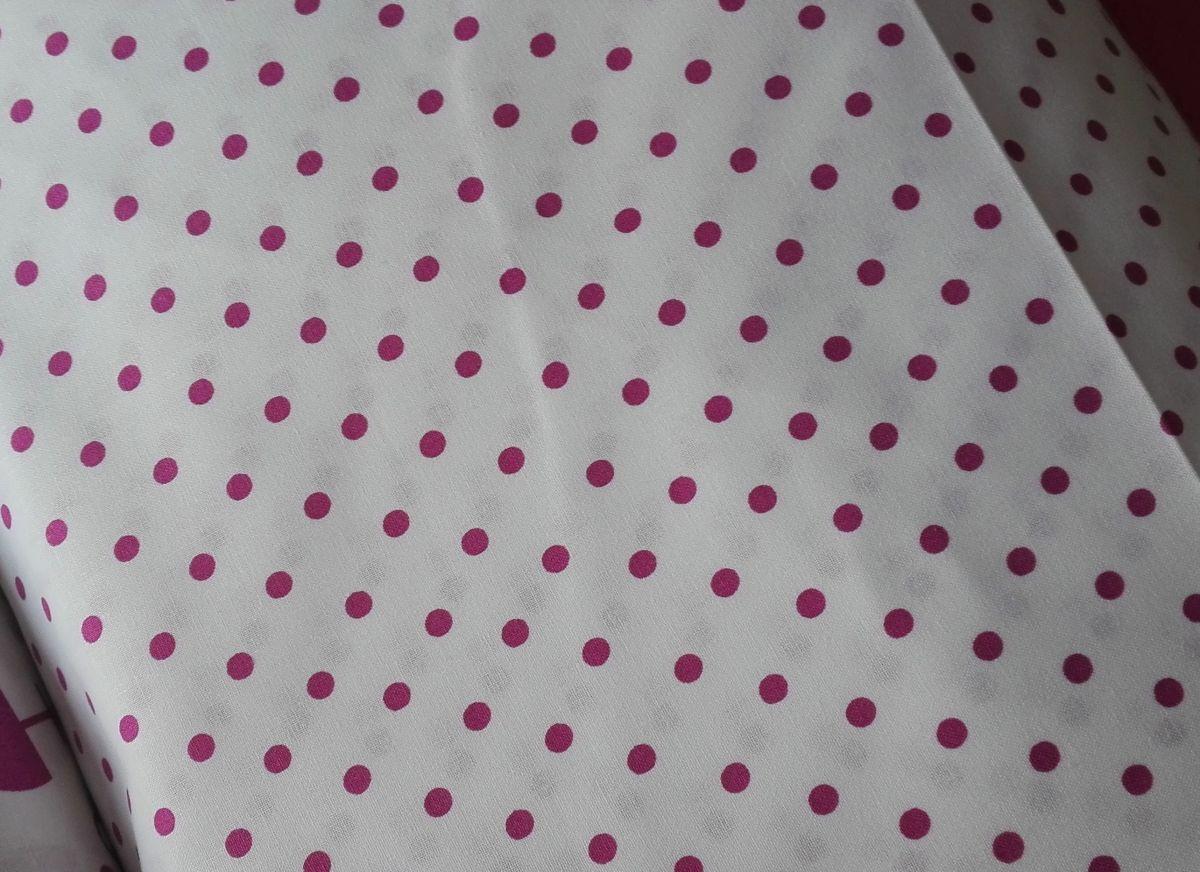 Plátno s potiskem kolekce růžová na bílé - puntíky