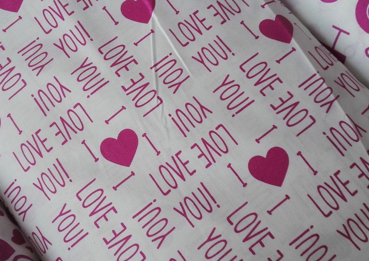 Plátno s potiskem kolekce růžová na bílé - nápisy I love you