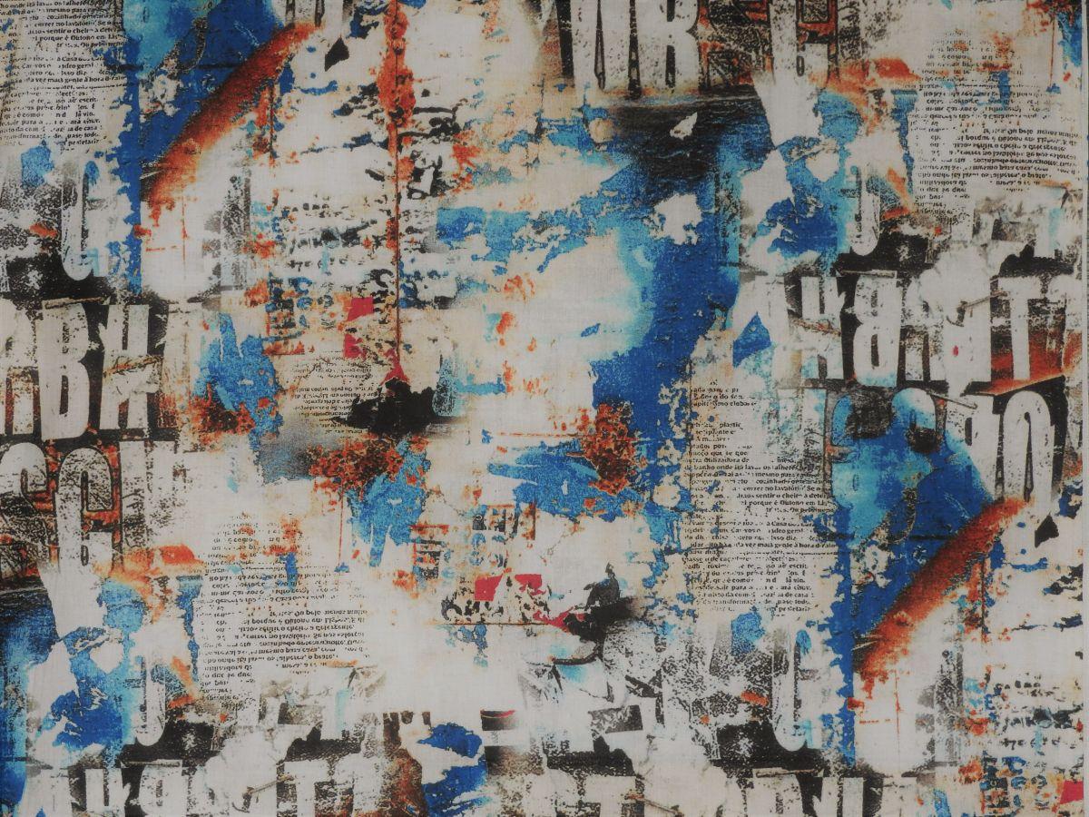 Plátno s potiskem nápisy a skvrny modré