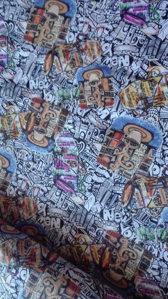 Plátno s potiskem graffitti a káva