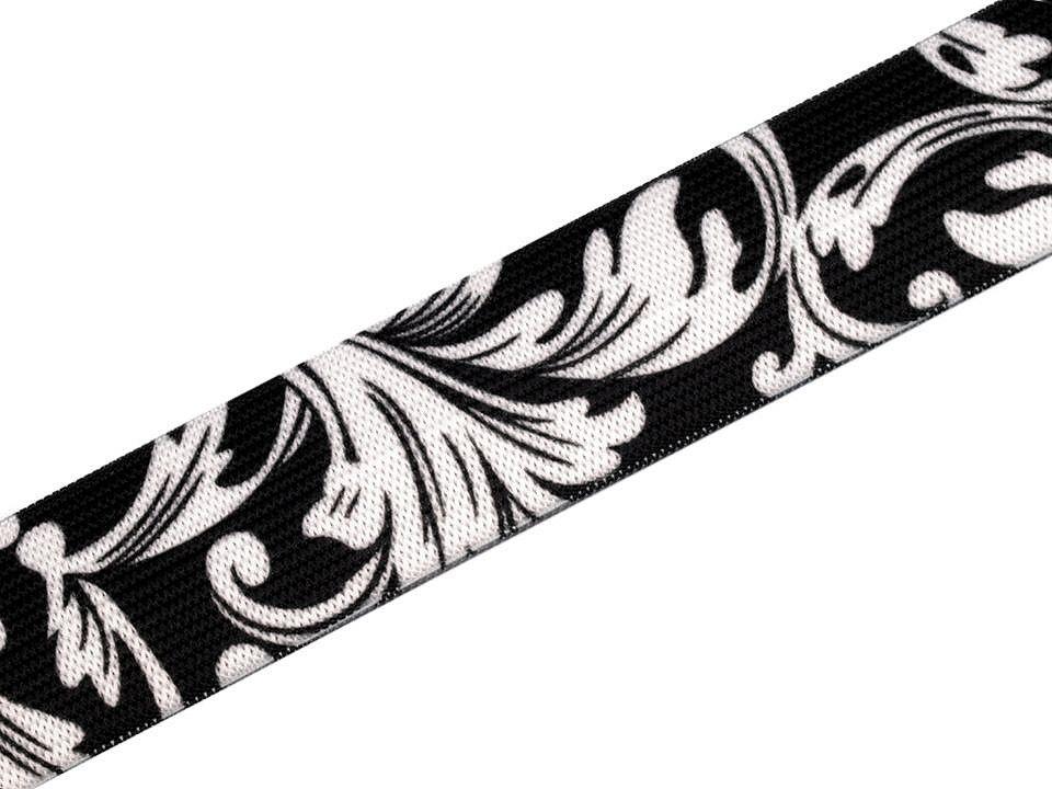 Pruženka černobílé ornamenty, 27mm