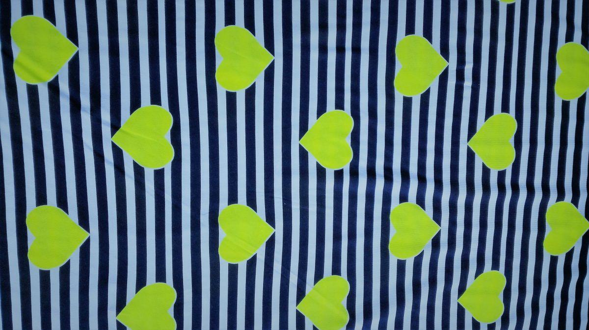 Teplákovina s elastanem srdíčka na modrobílých pruzích