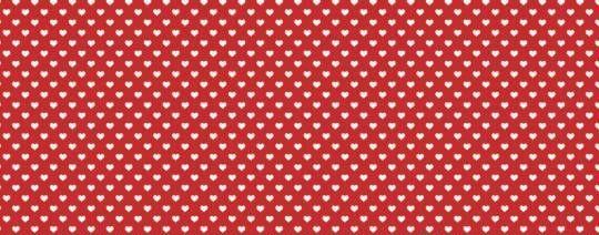 Plátno s potiskem malá srdíčka na červené