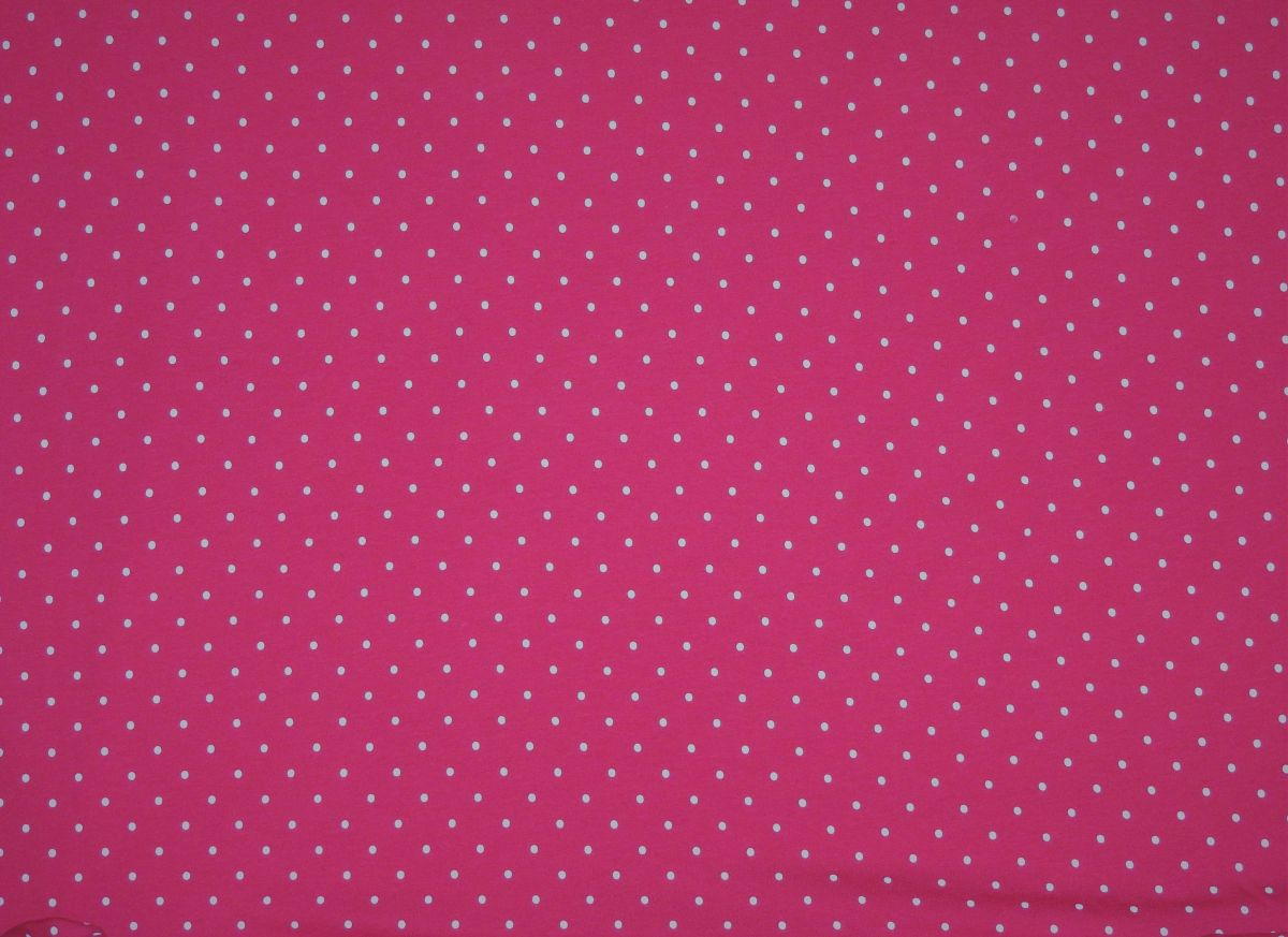 Elastický úplet Drobné puntíky na růžové