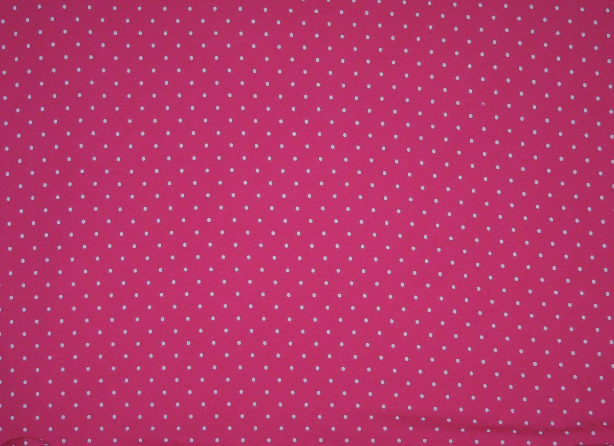 Teplákovina s elastanem puntíky na růžové