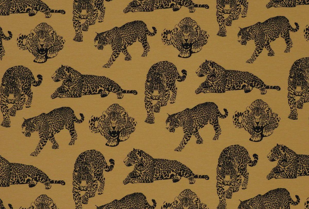 Teplákovina s elastanem gepardi na hořčicové
