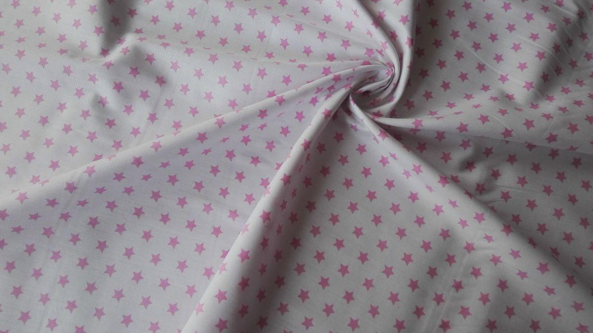 Plátno s potiskem růžové hvězdičky na bílé