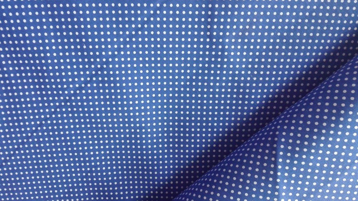 plátno s potiskem puntíčky na modré