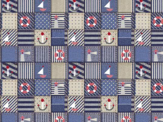 Plátno s potiskem námořnický patchwork