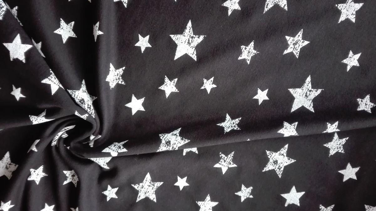 Teplákovina s elastanem hvězdičky na černé