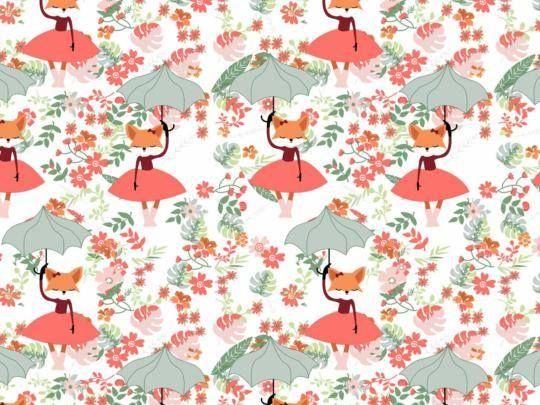 Plátno s potiskem lišky s deštníky